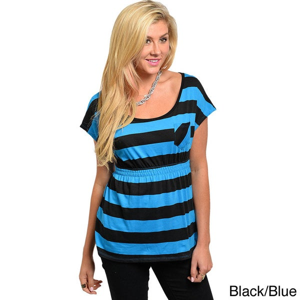 Shop The Trends Juniors Striped Empire Waist Top