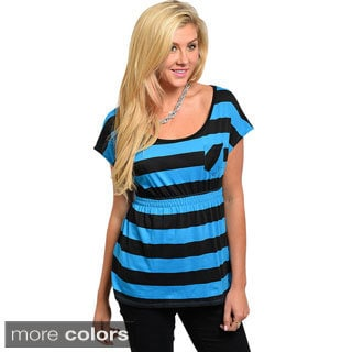 Feellib Juniors Striped Empire Waist Top