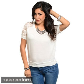 Feellib Juniors Lace-sleeve Banded Top