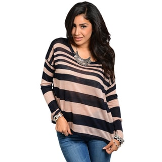 Feellib Juniors Striped Dolman Sleeve Knit Sweater