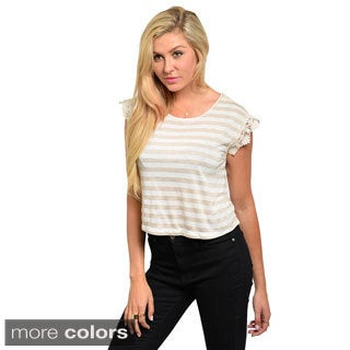 Feellib Juniors Striped Crochet-sleeve Top