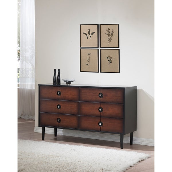 Allen Black and Cherry 6-drawer Dresser