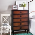 Allen Black and Cherry 5-drawer Mid-century Style Chest