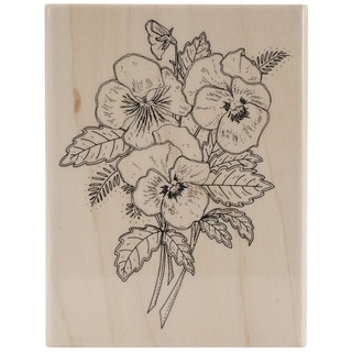 Pennu Black Mounted Rubber Stamp 3.25inX4.25in-Pansy Bouquet