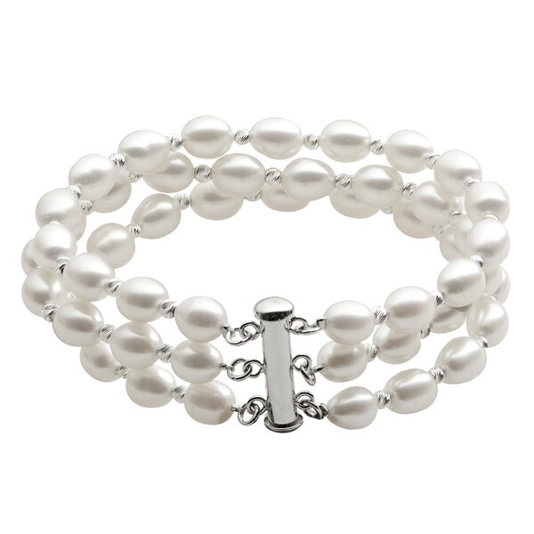 Pearls For You Sterling Silver Triple-strand White Freshwater Pearl Diamond Cut Bead Bracelet (6-7 mm)