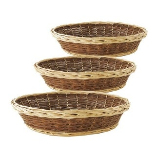 Oval Ecru/ Dark Brown Willow Trays with Handles (Set of 3)