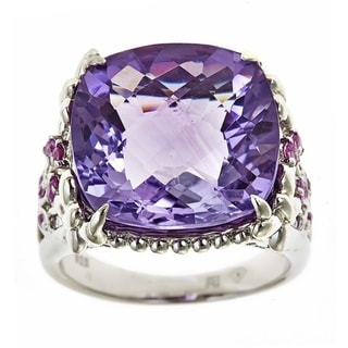 D'yach Sterling Silver Amethyst and Pink Sapphire Fashion Ring