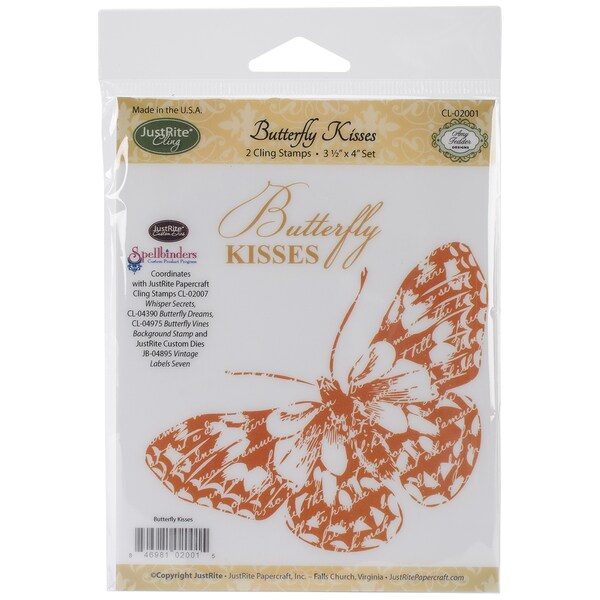 JustRite Papercraft Mini Cling Stamp Set 3.5inX4in-Butterfly Kisses 2pc