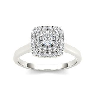 De Couer 10k White Gold 1/2ct TDW Diamond Double Halo Engagement Ring (H-I, I2) with Bonus Necklace