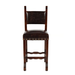 Leather Burgandy Spanish Bar Stool