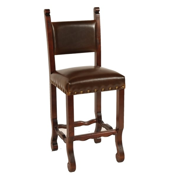 Leather Chestnut Spanish Bar Stool