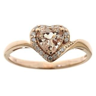 D'yach 10k Rose Gold Heart Shaped Morganite 1/10ct TDW White Diamond Ring (G-H, I1-I2)