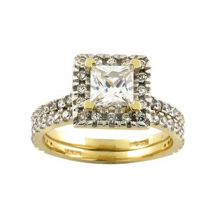 10k Yellow Gold Square Cubic Zirconia Bridal Ring Set