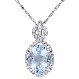 Miadora 10k White Gold Aquamarine and 1/6ct TDW Diamond Infinity Necklace (G-H, I1-I2)