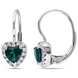 Miadora 10k White Gold Created Emerald and 1/6ct TDW Diamond Earrings (H-I, I2-I3)