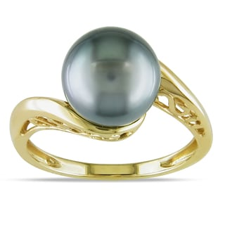 Miadora 14k Yellow Gold Tahitian Black Pearl Bypass Ring (8-8.5 mm)
