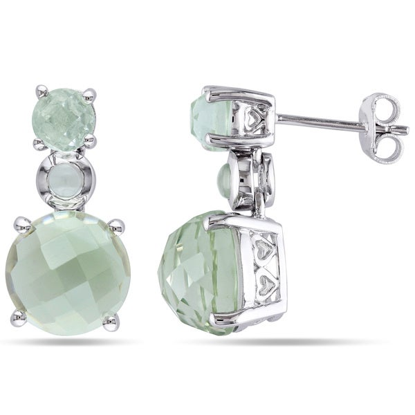 Miadora Sterling Silver 9ct TGW Green Amethyst Dangle Earrings