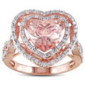 Miadora 10k Rose Gold Morganite and 1/3ct TDW Diamond Ring (H-I, I2-I3)
