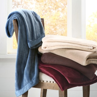 Madison Park Micro Velour Plush Throw Blanket