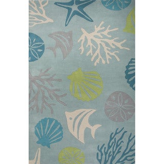 Hand Tufted Abstract Pattern Blue/ Green Wool Area Rug (3'6 x 5'6)