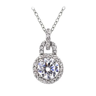 Icz Stonez Platinum Plated Sterling Silver 1 3/5ct TGW 100 Facets Cubic Zirconia Dangle Necklace