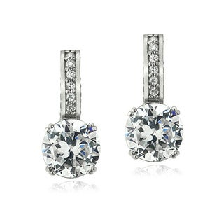 Icz Stonez Platinum Plated Sterling Silver 2ct TGW 100 Facets Cubic Zirconia Round Drop Earrings