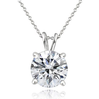 Icz Stonez Platinum Plated Sterling Silver 3ct TGW 100 Facets Cubic Zirconia Necklace