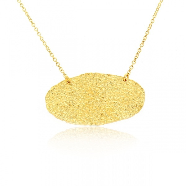Belcho 14k Yellow Gold Overlay Hammered Oval Plate Pendant Necklace