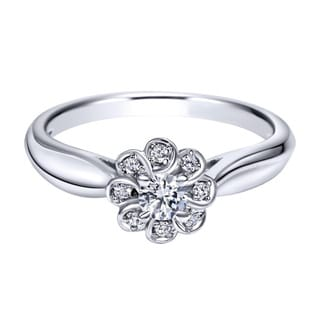 14k White Gold 1/4ct TDW Diamond Floral Ring (H-I, I1-I2)