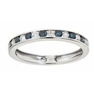 D'yach 14k White Gold 3/5ct TDW Blue and White Diamond Ring (G-H, I1-I2)