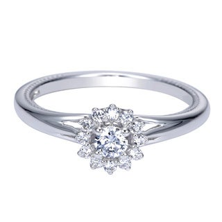 14k White Gold 1/10ct TDW White Diamond Floral Ring (H-I, I1-I2)