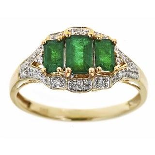 D'yach 14k Yellow Gold Zambian Emeralds and Diamond Accent Ring