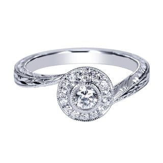 14k White Gold 1/3ct TDW White Diamond Carved Halo Ring (H-I, I1-I2)