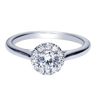 14k White Gold 1/2ct TDW Diamond Sleek Halo Ring (H-I, I1-I2)