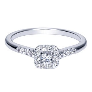 14k White Gold 1/3ct TDW Square Halo Diamond Ring (H-I, I1-I2)
