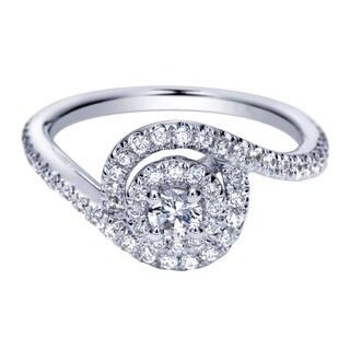 14k White Gold 5/8ct TDW Diamond Halo Bypass Twist Ring (H-I, I1-I2)