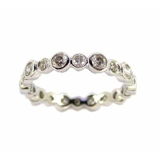 Kabella Luxe 14k White Gold 1 1/10ct TDW Bezel Diamond Eternity Ring (H-I, I1-I2)