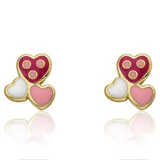 Little Miss Twin Stars 'I love My Jewels' 14k Goldplated Enamel Triple Heart Stud Earrings