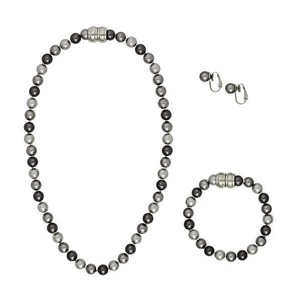 Alexa Starr Magnetic Necklace, Bracelet and Earring Glass Bead Jewelry Set