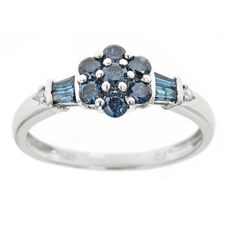 D'yach Sterling Silver Blue Diamond Floral Ring (I1-I2)