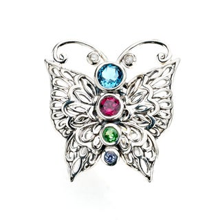 Royal Bali by Samuel B. Sterling Silver Multi-gemstones Diamond Accent Butterfly Ring