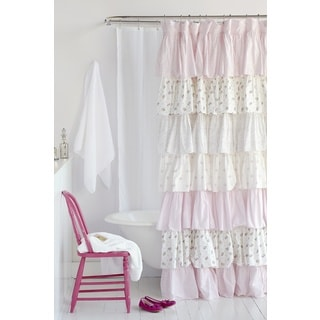 Pink Floral French Ruffle Shower Curtain