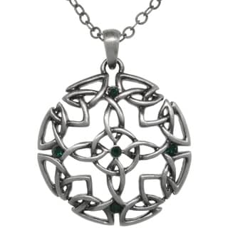 CGC Pewter Green Crystal Rhinestone Celtic Circle Of Life Medallion Necklace
