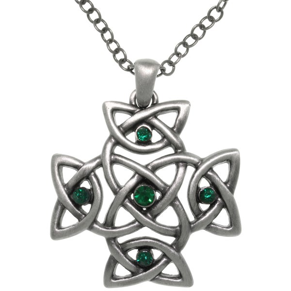 CGC Pewter Green Cyrstal Celtic Cross Pendant Chain Necklace