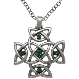 Carolina Glamour Collection Pewter Green Cyrstal Celtic Cross Pendant Chain Necklace