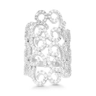 La Preciosa Sterling Silver Cubic Zirconia Swirl Wide Ring