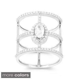 La Preciosa Sterling Silver Cubic Zirconia Oval/ Bars Wide-band Ring