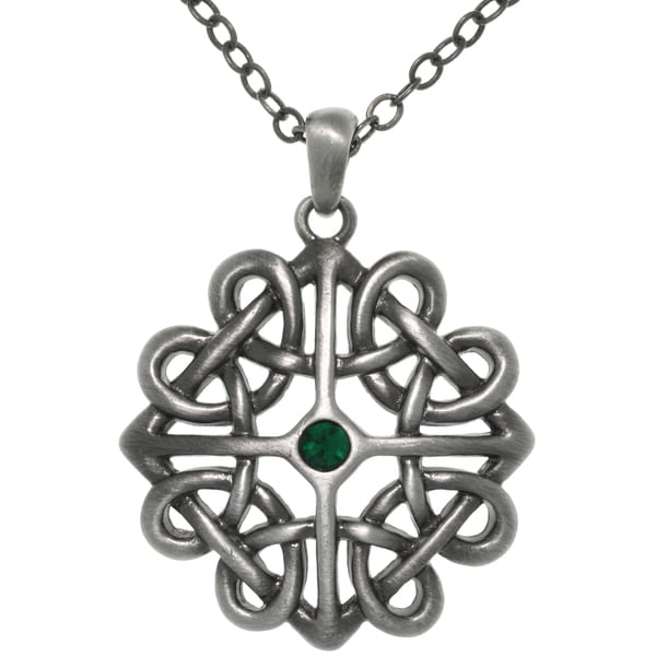 CGC Pewter Crystal Rhinestone Celtic Heart Knot Pendant Necklace
