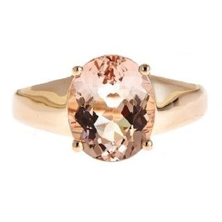 D'yach 14k Rose Gold 3 5/8ct TGW Morganite Ring