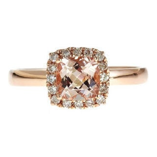 D'yach 14k Rose Gold Square Cushion-cut Morganite and 1/6ct TDW Diamond Ring (G-H, I1-I2)